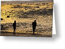 Strangers On A Shore - Walking Silhouettes Greeting Card