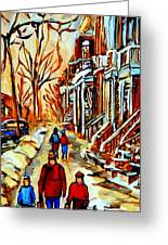 Walking The Dog By Balconville Winter Street Scenes Art Of Montreal City Paintings Carole Spandau Greeting Card