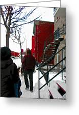 Walking The Dog Through Snowy Streets Of Montreal Urban Winter City Scenes Carole Spandau Greeting Card