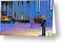Walking The Indoor Labyrinth In Grace Cathedral In San Francisco-california Greeting Card