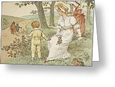 Walking To Mouseys Hall Greeting Card