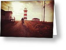 Walking To The Lighthouse Greeting Card