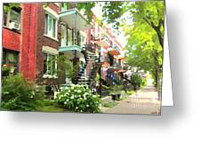 Walking Verdun In Summer Winding Staircases And Pathways Urban Montreal City Scenes Carole Spandau Greeting Card
