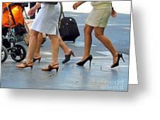 Walking With High Heels Greeting Card