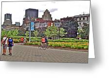 Walkway By Quays Along Saint Lawrence River In Montreal-qc Greeting Card