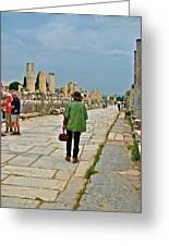 Walkway To Harbor In Ephesus-turkey Greeting Card