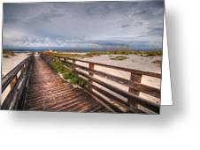 Walkway To The Beach At Romar Access Greeting Card