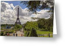 Walkway To The Eiffel Tower Greeting Card