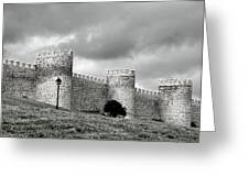 Wall Against Clouds Greeting Card