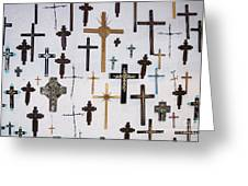 Wall Of Crosses Greeting Card