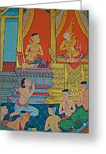 Wall Painting 2 In Wat Po In Bangkok-thailand Greeting Card