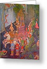 Wall Painting At Wat Suthat In Bangkok-thailand Greeting Card