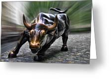 Wall Street Bull Greeting Card