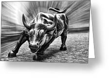 Wall Street Bull Black And White Greeting Card