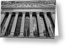 Wall Street New York Stock Exchange Nyse Bw Greeting Card