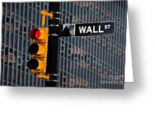 Wall Street Traffic Light New York Greeting Card