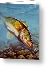 Walleye Ice Fishing Greeting Card by Jon Q Wright