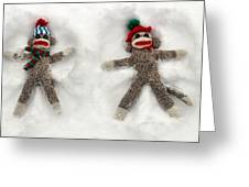 Wally And Petey Snow Angels Greeting Card