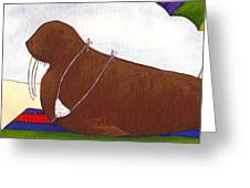 Walrus At The Beach Greeting Card by Christy Beckwith