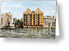 Wapping Thames Police Station And Rebuilt St Johns Wharf London Greeting Card