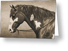 War Horse Aged Photo Fx Greeting Card