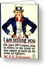 War Poster - Ww1 - Uncle Sam Savings Greeting Card