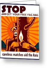 War Poster - Ww2 - Fire Safety Greeting Card