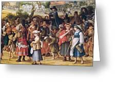 War Scene Oil On Panel Detail Of 242453 Greeting Card