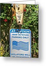 Veteran Parking Sign Greeting Card