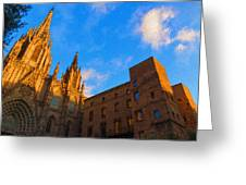 Warm Glow Cathedral - Impressions Of Barcelona Greeting Card