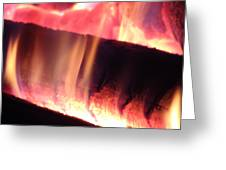 Warm Glowing Fire Log Greeting Card