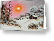Warm Winter Day After Bob Ross Greeting Card