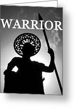 Warrior White Text Greeting Card