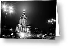 Warsaw Poland Downtown Skyline At Night Greeting Card