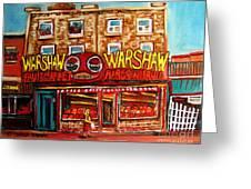 Warshaw's Bargain Fruit Store Rue St Laurent Montreal Paintings City Scene Art Carole Spandau Greeting Card