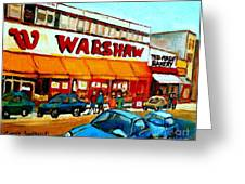 Warshaws Paintings Famous Fruit Store Main Street Montreal Art Prints Originals Commissions Cspandau Greeting Card