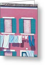 Washing Day Burano Venice Greeting Card