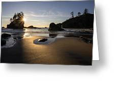 Washington Beach Sunstar Dusk Greeting Card