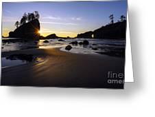 Washington Coast Evening Sunstar Tide Greeting Card