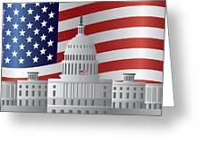 Washington Dc Capitol Us Flag Background Greeting Card