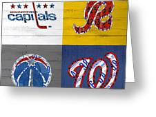 Washington Dc Sports Fan Recycled Vintage License Plate Art Capitals Redskins Wizards Nationals Greeting Card