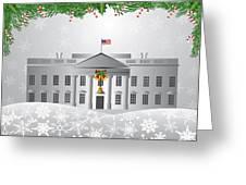 Washington Dc White House Christmas Scene Illustration Greeting Card