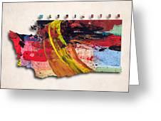 Washington Map Art - Painted Map Of Washington Greeting Card
