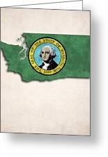 Washington Map Art With Flag Design Greeting Card