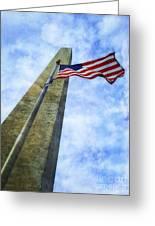Washington Monument And Flag Greeting Card