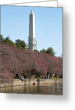 Washington Monument Reflected In Tidal Basin And Surrounded By P Greeting Card