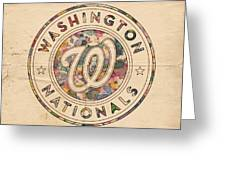 Washington Nationals Vintage Art Greeting Card by Florian Rodarte