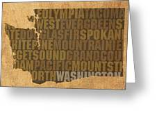 Washington Word Art State Map On Canvas Greeting Card