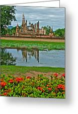 Wat Mahathat In13th Century Sukhothai Historical Park-thailand Greeting Card
