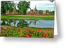 Wat Mahathat Reflection In 13th Century Sukhothai Historical Park-thailand Greeting Card